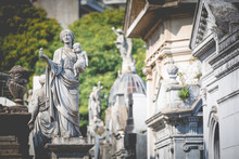 Monuments At Recoleta Cemetery, A Public Cemetery In Buenos Aires, Argentina.
