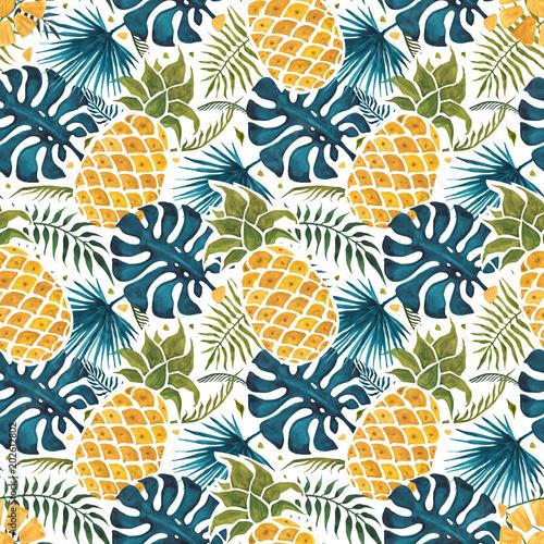 ananasowy-tlo-recznie-rysowane-ilustracji-akwarela-bezszwowy-wzor