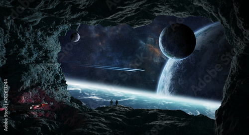 Astronauts exploring a cave in asteroid 3D rendering elements of this image furnished by NASA