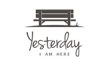 Single Wooden Bench Silhouette In Park For Story Memories Illustration Logo Design