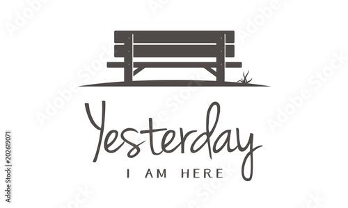 Single Wooden Bench silhouette in Park for story memories illustration logo desi Poster Mural XXL