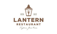 Lantern Post, Classic Street Lamp With Fork Restaurant Vintage Logo Design Vector