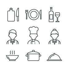 Restaurant Icons Set. Kitchen ...