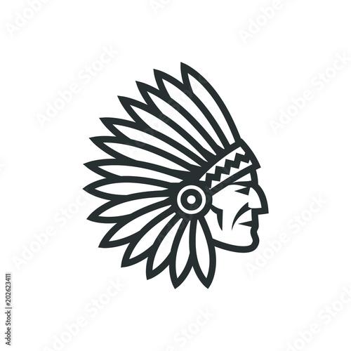 Photo American native chief head icon. Indian logo