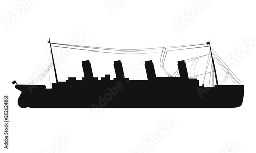 drawing silhouette of titanic boat Canvas Print