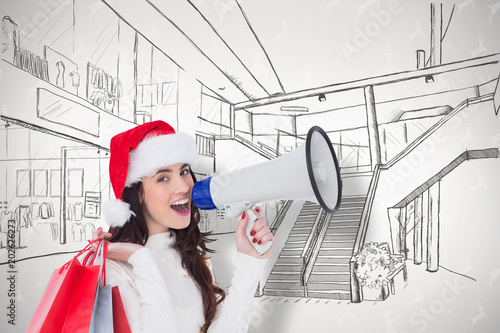 In de dag Illustratie Parijs Festive brunette holding gift bags and megaphone against grey reindeer pattern