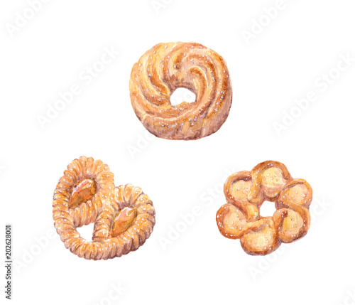 Canvas Baking cookies. Watercolor
