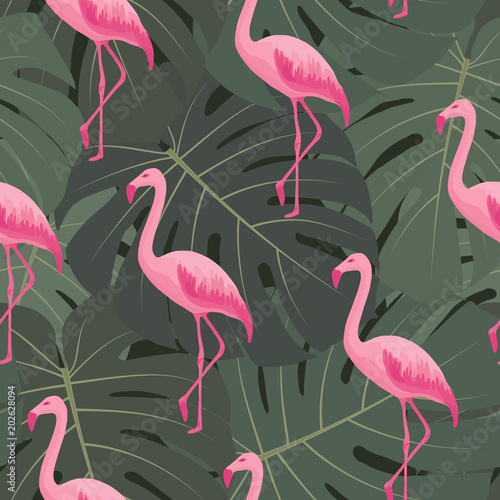 Canvas Prints Flamingo Bird Exotic tropical seamless pattern with pink flamingos, green monstera leaves