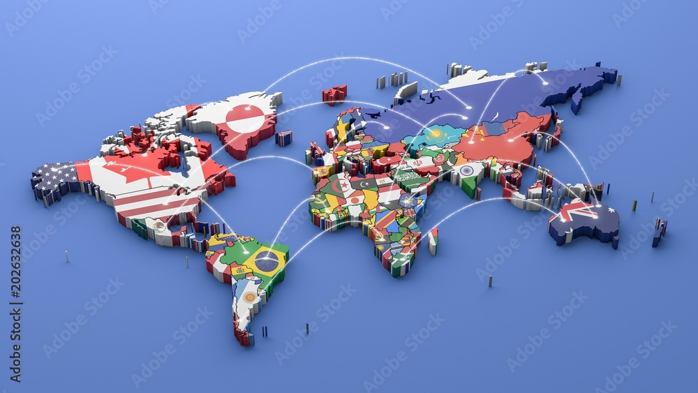 Fototapety, obrazy: World map with all states and their flags,3d render