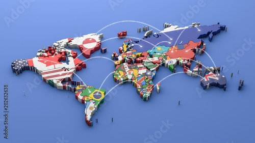 Cuadros en Lienzo World map with all states and their flags,3d render