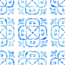 Hand Drawn Watercolor Ornament, Blue Seamless Pattern, Vintage Repeating Background. Antique Wallpaper Illustration.