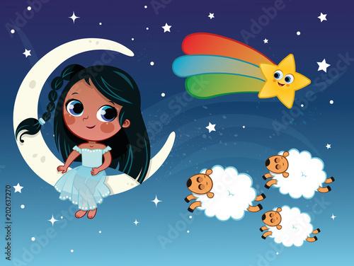 Fotografía  Little girl illustration in night and sleep theme