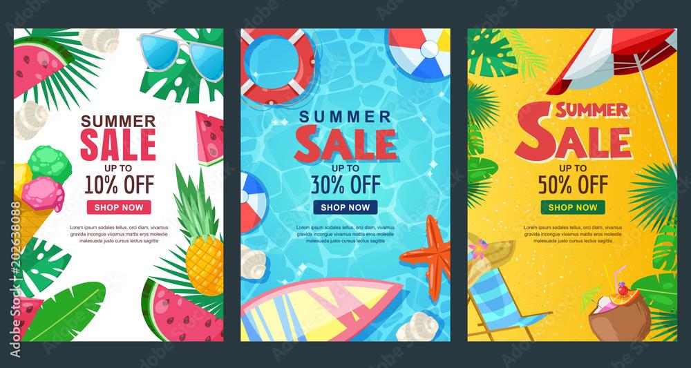 Fototapety, obrazy: Summer sale vertical banner set. Vector season poster template. Tropical backgrounds.