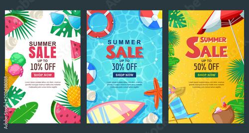 Summer sale vertical banner set. Vector season poster template. Tropical backgrounds.