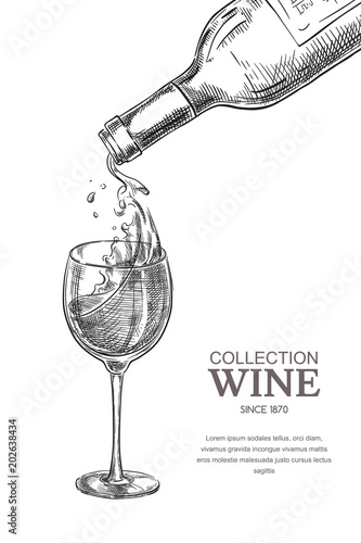 Carta da parati Wine pouring from bottle into glass, sketch vector illustration
