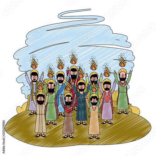 Fotografía apostles group pentecost in the camp vector illustration design