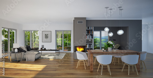 Panorama View Inside Luxury Living Room   Blick In Luxus Wohnzimmer