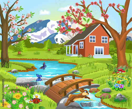 In de dag Lime groen Cartoon illustration of a spring natural landscape with a house in the middle, river and bridge