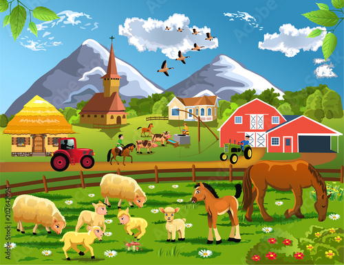 Cartoon illustration of countryside with village, farm animals grazing in the courtyard and barn in a rural landscape
