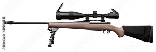 Fotografía  Modern sniper rifle with an optical sight isolated on white