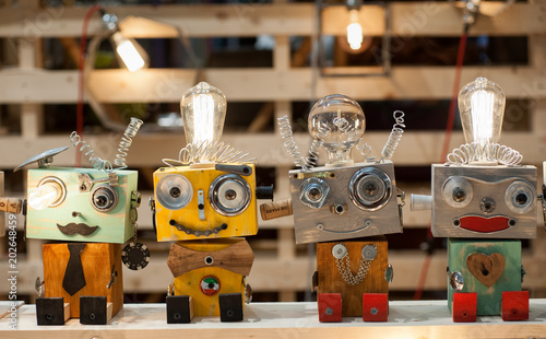 Obraz Puppets built with recycled materials on a toy stand - fototapety do salonu