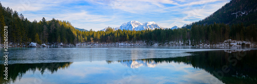 Foto op Aluminium Meer / Vijver Panorama of the Lake Hintersee. Bavaria. Germany