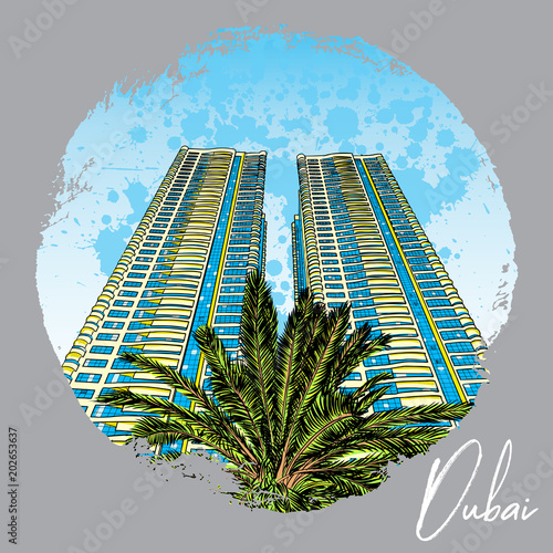 Photo  Hand drawn sketch with watercolor splashes of Dubai luxury hotel or tall building skyscraper with the palm tree from below