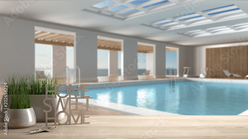 Wooden Table Desk Or Shelf With Potted Grass Plant House Keys And 3d Letters Making The Words Home Sweet Home Over Swimming Pool Architecture Interior Design Copy Space Background Buy This