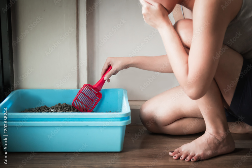 Woman wearing a gray spaghetti strap cleaning the blue little box or cat toilet, feeling stinky