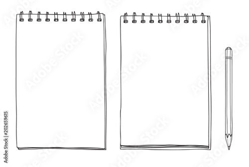 Foto hand drawn notebook and pencil cute line art vector illustration