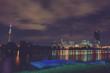 Night photo of Vienna international city over river Danube