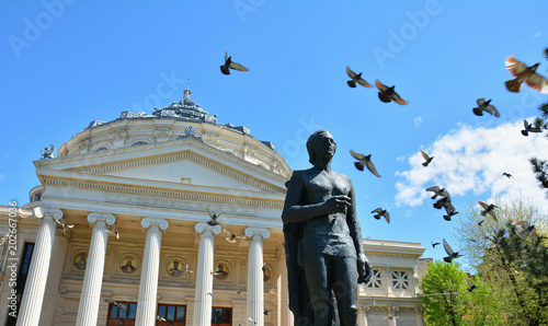 Deurstickers Theater Romanian Atheneu , tourists attraction in Bucharest, capital of Romania Country.