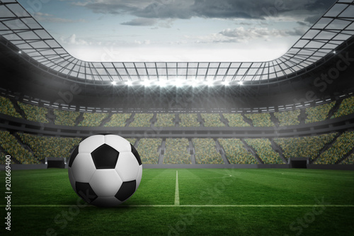 Fototapety, obrazy: Black and white leather football in a large football stadium with fans in yellow