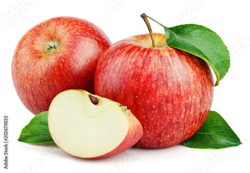Ripe red apple fruits with apple slice and apple green leaves isolated on white background. Red apples and leaves with clipping path