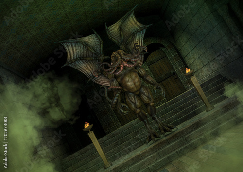 Mythical Cthulhu monster standing in an old temple. Canvas Print