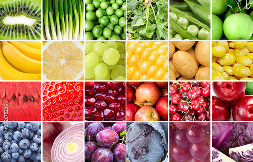 Vegetables and fruits collage - 202675236