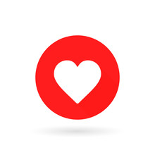 Heart Icon. Romantic Love Symbol. Red Circle Button With Flat Web Icon. Vector