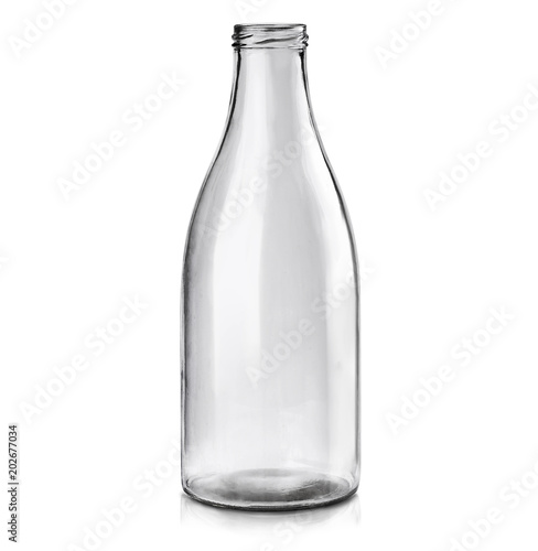 Fotografia  MoсkUp transparent empty glass bottle on white background.