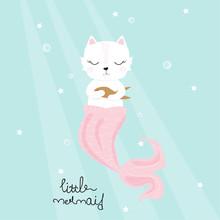 Cute Cat Mermaid With Golden Fish. Childish Print. Vector Hand Drawn Illustration.