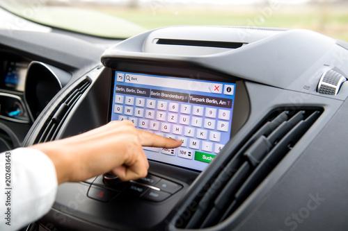 Fotomural  Navigationssystem im PKW