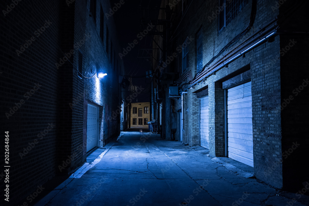 Fototapety, obrazy: Dark and eerie urban city alley at night