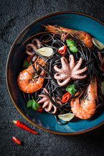 Delicious Seafood Black Pasta ...