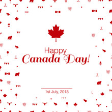Modern Vector Illustration For The Canada Day. Stylish Concept With Canada's Symbols.