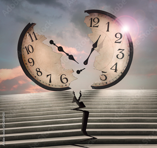 Ingelijste posters Surrealisme Beautiful conceptual surreal image representing a large clock and a cracked stairway in two