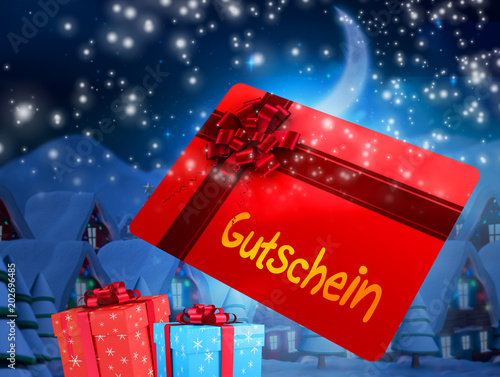 Poster Bordeaux Flying gift card and presents against quaint town with bright moon