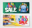 Creative Banner Set with Colorful and Patterned Back to School Text and Different School Elements for Marketing Purposes