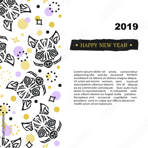 2019 new year card with pig or boars head template for party invitation tattoo studio