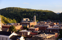 View Of Small New England Town At Sunset From Above
