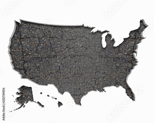 United States of America USA Road Map Pavement Construction ...