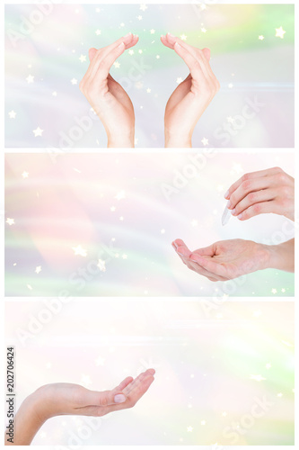 Photo  Woman presenting with her hands against glowing background